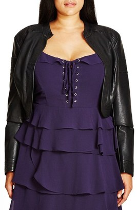 City Chic Faux Leather Bolero (Plus Size) $119 thestylecure.com