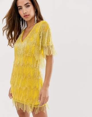 Asos Design DESIGN mini dress in all over fringe embellishment and short sleeve