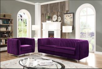 Chic Home Priscilla Elegant Velvet Modern Contemporary Plush Cushion Seat Round Acrylic Feet Club Chair, Purple