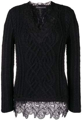 Ermanno Scervino lace trim cable knit sweater