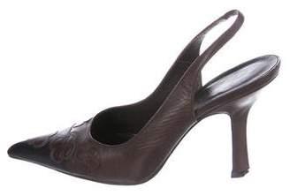 Chanel Leather Camellia Pumps