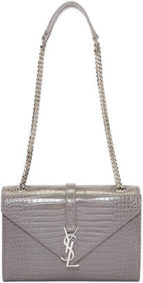 Saint Laurent Grey Croc-Embossed Medium Monogram Chain Bag