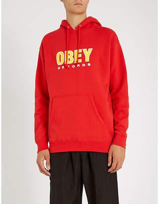 Obey Logo-print cotton-blend hoody