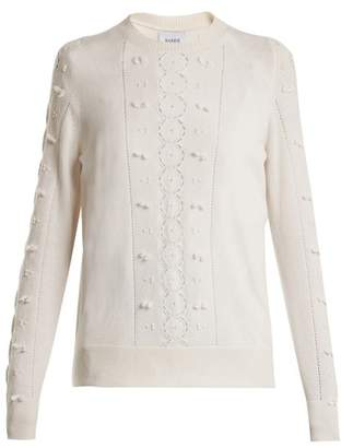 Barrie - Fluttering Lace Crew Neck Cashmere Sweater - Womens - Ivory