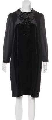 Clements Ribeiro Velvet-Trimmed Midi Dress