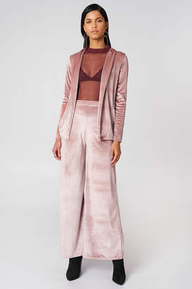 boohoo Velvet Wide Leg Trouser Rose