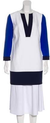 Diane von Furstenberg Split-Neck Long Sleeve Tunic White Split-Neck Long Sleeve Tunic