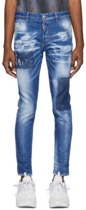 DSQUARED2 Blue Bleached Holes Skinny Dean Jeans