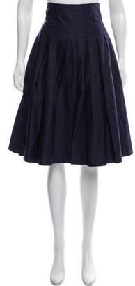 Black Fleece Pleated Knee-Length Skirt