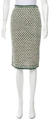 Oscar de la Renta Crochet Knee-Length Skirt