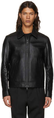 Ami Alexandre Mattiussi Black Leather Zipped Jacket