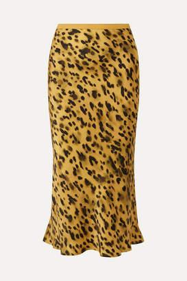Anine Bing Bar Leopard-print Silk-charmeuse Midi Skirt - Yellow