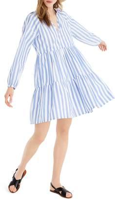 J.Crew Tiered Popover Dress in Striped Poplin