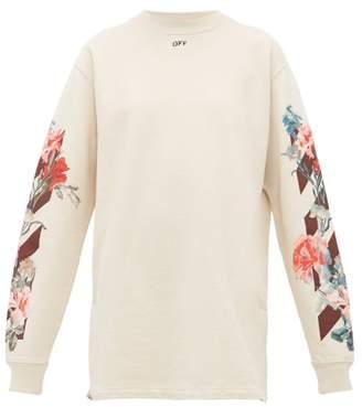 Off-White Off White Floral Print Cotton Mini Dress - Womens - White Multi