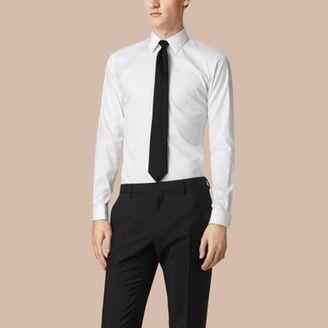 Burberry Slim Fit Double-cuff Cotton Dress Shirt $450 thestylecure.com