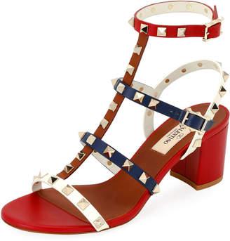 Valentino Rockstud Colorblock Slide Sandals