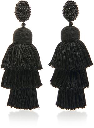 Oscar de la Renta Long Silk Tiered Tassel C Earring $450 thestylecure.com