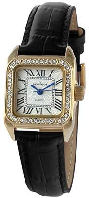 Peugeot Womens 14K Gold Plated Square Tank Petite Small Black Leather Band Luxury Dress Watch 3052BK