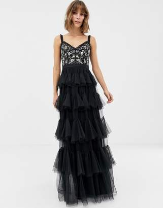 Needle & Thread embrodiered tiered tulle gown in black