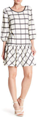 ECI 3/4 Sleeve Windowpane Print Drop Waist Dress