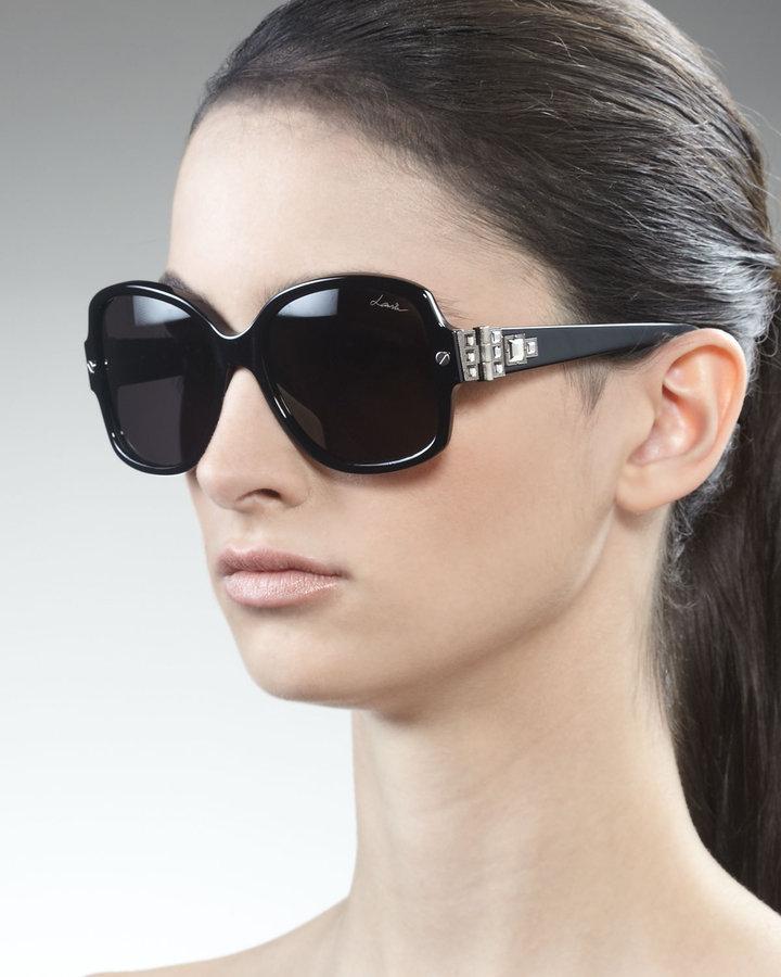 Lanvin Swarovski Crystals-Detail Square Sunglasses, Black