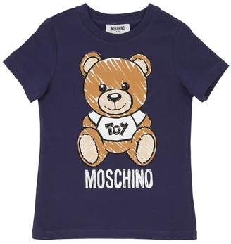 Moschino Bear Print Cotton Jersey T-Shirt