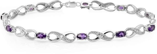 Ice 2 1/4 CT TW Amethyst and White Diamond 10K White Gold Infinity Tennis Bracelet