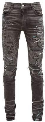 Amiri Paint Splatter Distressed Slim Leg Jeans - Mens - Grey