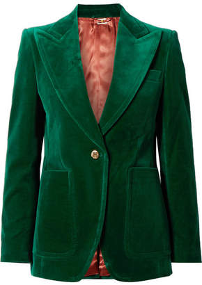 Gucci Cotton-blend Velvet Blazer - Emerald