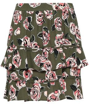 Love Moschino Tiered Floral-print Crepe Mini Skirt