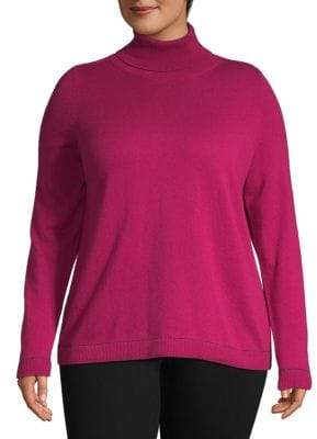 Lafayette 148 New York Plus Sequin-Trimmed Cashmere Sweater