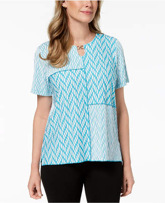 Alfred Dunner Scottsdale Mixed-Media Top