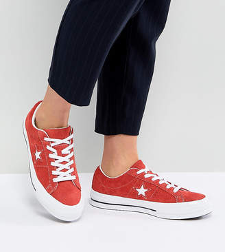 Converse One Star Ox Trainers In Red Suede