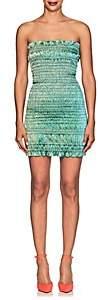 Area Women's Emily Smocked Cotton-Blend Lamé Minidress - Green