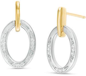 Zales 1/10 CT. T.W. Diamond Oval Drop Earrings in 10K Two-Tone Gold