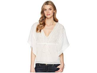 Roper 1627 White Cotton V-Neck Blouse