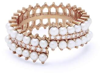 Nouvel Heritage Double Pearl and Diamond Wrap Lace Ring - Rose Gold
