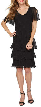 Onyx Nites Short Flutter Sleeve Tiered Shift Dress