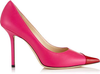 Jimmy Choo LOVE 100 Hot Pink and Red Asymmetric Patent Nappa Leather Pointy Toe Pump