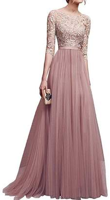 IBTOM CASTLE Women's Tulle Floral Lace Bridesmaid Long Dress Prom Evening Cocktail 3/4 Sleeves Floor Length Retro Vintage Formal Maxi Gowns S