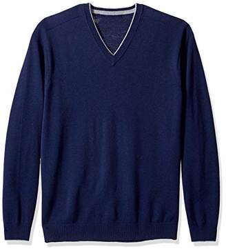 The Knitwear Lab Men's 3D Fine Gauge V-Neck Sweater