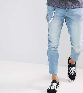 Co Brooklyn Supply Brooklyn Supply Lightwash Slim Cropped Jeans With Chain