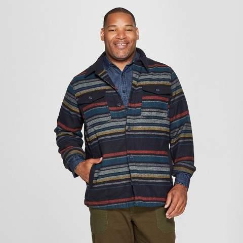 Goodfellow & Co Men's Big & Tall Long Sleeve Striped Wool Blend Shirt Jacket - Goodfellow & Co Xavier Navy