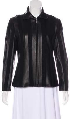 Lafayette 148 Leather Rib-Knit Jacket