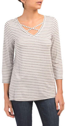 Striped Criss Cross Front Tee