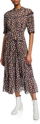 Sea Alha Sash-Waist Tiered Dress