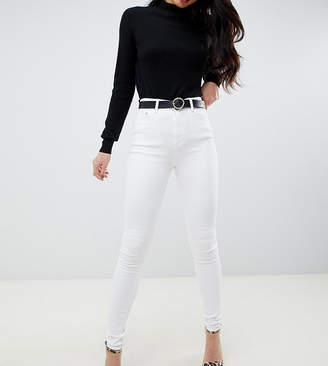Asos Tall DESIGN Tall Ridley high waisted skinny jeans in optic white