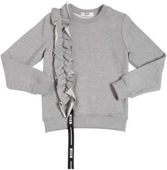MSGM Ruffled Cotton Sweatshirt