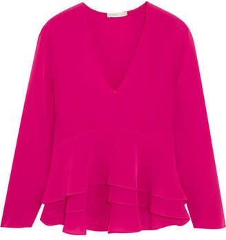 Etro Ruffled Silk-crepe Peplum Blouse - Pink