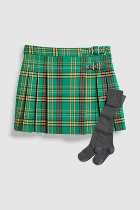 Next Girls Green Check Kilt Skirt With Tights (3-16yrs)
